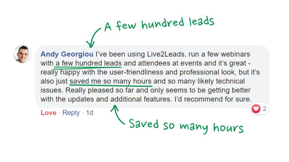 Andy got a few hundred leads